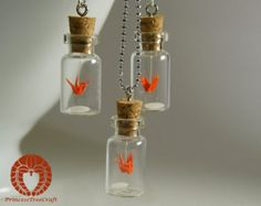 Micro Origami Crane Mobile in a Bottle Pendant and Earrings Set, Origami Crane Pendant and Earrings - Orange Crane and a Grain of Rice