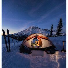 Winter camping in Mt. Rainier National Park Photo: by wilderness_culture Winter camping in Mt. Rainier National Park Photo: by wilderness_culture Winter Camping, Camping And Hiking, Camping Life, Tent Camping, Outdoor Camping, Camping Hacks, Family Camping, Camping Outdoors, Camping Jokes