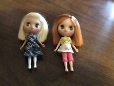 """2 Littlest Pet Shop 4"""" Blythe Dolls with Clothes Red & Blonde Hair"""