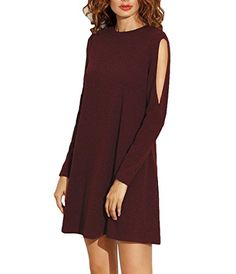 ZJCT Women's Fall Off Shoulder Tunic Cut Out Sleeve Loose T-Shirt Midi Dress Wine M. Cotton + Spandex. Slit sleeves, Round neck, Long sleeve loose dress. Women's Basic Tunic A-line Casual Short Dress. You can easily accessorize these tunic sweaters with a scarf or jewelry to get a variety of looks. It is the ideal relaxed fit tunic. Casual style, Super soft, Stretchy and lightweight, Can be easily dress up or dress down. The tunic shirt makes looking fashionable a seamless and fun...