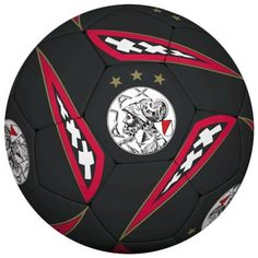 Ajax Bal Oude Logo Groot Zwart/rood Ball Leather Black/Red New!