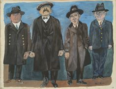 Ben Shah: Bartolomeo Vanzetti and Nicola Sacco, 1932, gouache .Shan participated in protests in support of their release in the 1920s and made twenty-three images about the Sacco and Vanzetti affair in 1931 and 1932. Many of these, including the gouache Bartolomeo Vanzetti and Nicola Sacco (1931-32) were based on photographs that appeared in newspapers