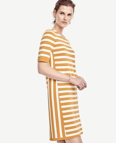 Image of Striped Short Sleeve Sweater Dress color Golden Sunray Spring Outfits Women, Spring Dresses, Summer Fashions, Striped Shorts, Striped Dress, Fashion Pictures, Pretty Dresses, Spring Fashion, Fashion Looks