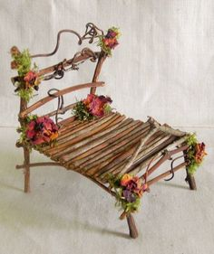 All Natural TWIG Furniture BED D for Miniature Dollhouse. One of a Kind TWIG BED made for a delightful Fairy. FAIRY GARDEN or FAIRY HOUSE. in your Fairy HOUSE or Fairy GARDEN! TWIGS, Wood Vine, Moss, Rose Petals! | eBay! #miniaturefairygardens