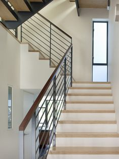 Handrailing staircase modern with metal railing frosted glass