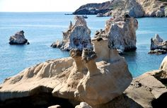 Picturesque shaped rocks, Kimolos, Greece.