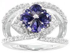 Bella Luce (R) Esotica (Tm) 3.87ctw Tanzanite & Diamond Simulants Rhodium Silver Ring