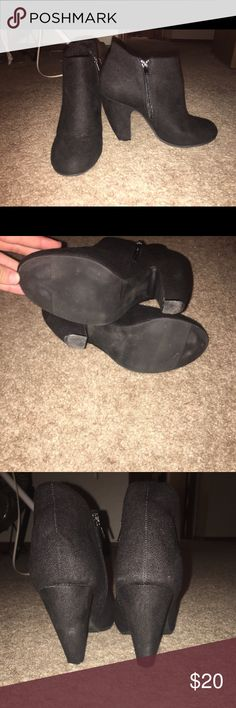 Black booties These super cute black booties will go with anything. They've been worn a couple of times, but they're too big for me. Olsenboye Shoes Ankle Boots & Booties