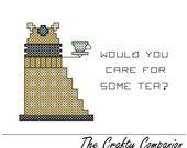 Dalek Tea Time - Doctor Who Inspired PDF Cross Stitch Pattern.