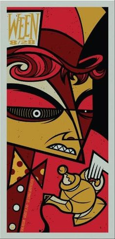 Original concert poster for Ween at The Les Schwab Amphitheater in Bend, OR in 2009. 11.6 x 23.75