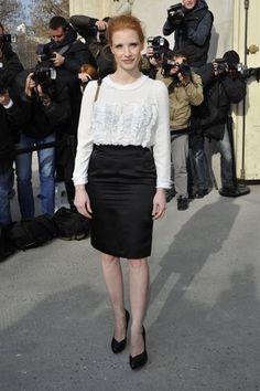 Jessica Chastain en el desfile de Chanel #actrices #actress #famosas #people #celebrities