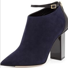 """Jimmy CHOO Vanish blue suede ankle bootie, size 40 A sculpted, triangular heel lends architectural height to a sophisticated pointy-toe bootie handcrafted in a rich duo of textures and tones. Navy blue suede and black patent leather strap.  4 1/4"""" heel (size 40). Back zip closure; adjustable strap with buckle closure. Leather upper, lining and sole. By Jimmy Choo; made in Italy. Salon Shoes. New no box, no dust bag, perfect condition, never worn, purchased from showroom in NYC. Jimmy Choo…"""