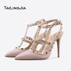 Women Shoes 2017 Pink Pointed Toe Studs Slingback Pumps Rivets Stiletto High Heel Sandals White Wedding Shoes Ladies Heels