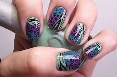 Neat multi animal print mani going to try this tonight...