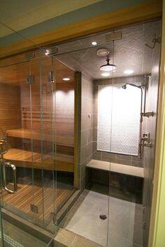 Sauna Steam Room Shower combo for basement bathroom Steam Room Shower, Sauna Steam Room, Sauna Room, Small Space Bathroom, Bathroom Spa, Basement Bathroom, Bathroom Ideas, Small Spaces, Shower Ideas