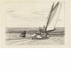 Study for Ground Swell: 1939 by Edward Hopper  (Whitney Museum of American Art, NYC) - American Realism (Viewed as part of the Exhibit - Hopper Drawings at the Whitney 10/5/13)