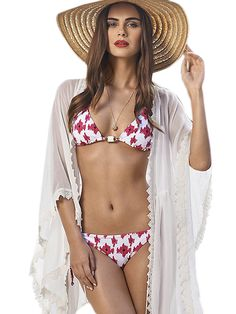 b053f7502 Lace Scalloped Trim White Beach Tunic. Crochet Trim BikiniSwimwear Cover  UpsBikini ...