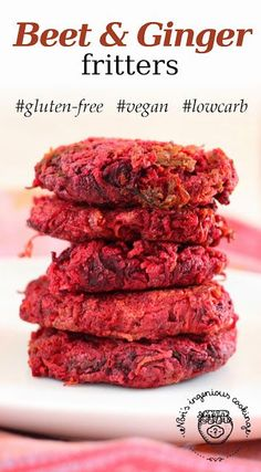 Beet & ginger fritters ( #glutenfree, #vegan, #lowcarb, #healthy #recipe)