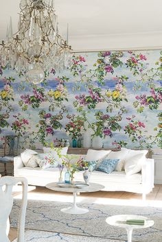 Caprifoglio - Panel by Designers Guild - Sky - Mural : Wallpaper Direct Designers Guild, Perfect Wallpaper, Room Wallpaper, Wallpaper Ideas, Design Blogs, Inspired Homes, Home Decor Trends, Decoration, Wall Murals