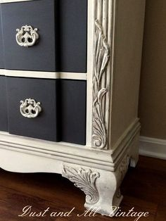 A lovely dresser finished in Old White Chalk Paint® decorative paint by Annie Sloan | By Dust and All Vintage www.facebook.com/... - Picmia #shabbychicdresserswhite