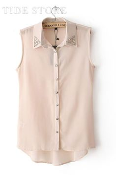 To find out about the Apricot Lapel Sleeveless Bead Dip Hem Blouse at SHEIN, part of our latest Blouses ready to shop online today! Chiffon Shirt, Sleeveless Blouse, Chiffon Blouses, Wholesale Fashion, Fashion Outfits, Womens Fashion, Sport Fashion, Stylish Outfits, Pink Tops