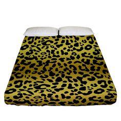 Gold and black, metallic leopard spots pattern, wild cats fur Fitted Sheet (Queen Size) Leopard Spots, Bed Sizes, Queen Size, Creative Design, Duvet Covers, Ottoman, Bedding, Metallic, Fur