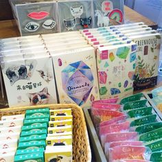 Die cut postcard packs, brooches and stickers... oh my! #postcards #stickers #pins #thepaperplace