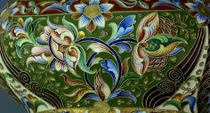 Antique Silver and Enamel | Large Russian Cloisonne Kovsh