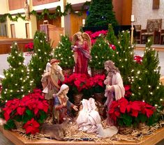 Waiting for baby Jesus. Church Altar Decorations, Church Christmas Decorations, Christmas Stage, Christmas Program, Christmas Nativity Scene, Christmas Tree Themes, Christmas Tea, Christmas Villages, Christmas Centerpieces