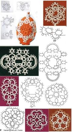 lots of books/diagrams from this Hungarian site.easy to scan through and… Crochet Snowflake Pattern, Crochet Motif, Crochet Lace, Shuttle Tatting Patterns, Needle Tatting Patterns, Irish Crochet, Double Crochet, Needle Tatting Tutorial, Tatting Earrings
