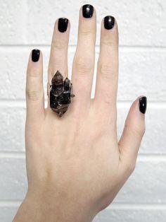 Smokey Quartz Natural Raw Crystal Ring Sterling Silver