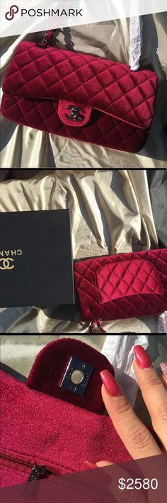 Double flap Velvet jumbo WEEKEND SALE Red wine velvet one of a kind!! You will absolutely love this bag!! 10x6, double flap, brand new, comes with free gift,comes with Chanel box and dust bag,price reflects authenticity, please ask me questions. I N S P I R E D BAG CHANEL Bags Shoulder Bags