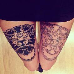 lion thigh tattoo