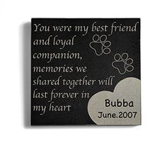Personalized Memorial Pet Headstone Customized - Paw Print Left By You - 6 x 6 Granite : Pet Supplies Dog Memorial Stone, Cat Memorial, Pet Headstones, Iguana Pet, Memorial Markers, Dog Ornaments, Litter Box, Losing A Pet, Pet Supplies