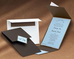 brown and blue wedding invitations - Google Search