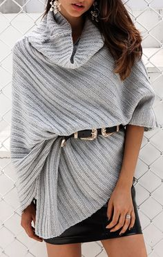 Wondering what to buy to look fantastic when it is cold outside? Get the knit poncho that is available in two colors
