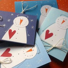 no link, but photo is gooe Diy Christmas Cards, Winter Christmas, Christmas Decorations, Christmas Activities, Christmas Projects, Snowman Cards, 242, Winter Crafts For Kids, Theme Noel