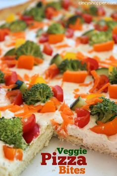 If you are looking to serve up a tasty vegetable packed appetizer, these Veggie Pizza Bites are going to be a winner! Super simple recipe that starts with P