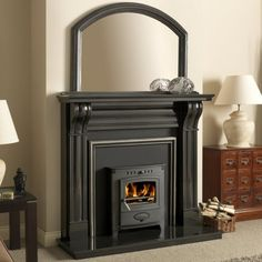 Buy Dublin 54 Inch Corbel Black Granite Fireplace Surround from Fast UK Delivery and lowest prices guaranteed. Two Sided Fireplace, Black Fireplace, Granite Fireplace, Stove Fireplace, Black Kitchen Cabinets, Black Kitchens, Multi Fuel Stove, Fire Surround, Wood Burner