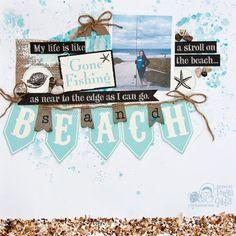 Psycho Moms Scrapbooks: Layout created by Tonya Gibbs Beach Scrapbook Layouts, Vacation Scrapbook, Wedding Scrapbook, Scrapbook Sketches, Baby Scrapbook, Scrapbook Paper Crafts, Scrapbook Supplies, Scrapbooking Layouts, Scrapbook Cards