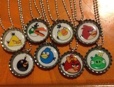 Diy Party Favor: Angry Birds Bottle Cap Necklaces
