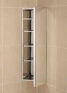 Ebay Deluxe Stainless Steel Mirrored Corner Bathroom Cabinet With Deep Utility Door C1cr 114