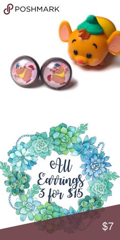"""Gus Gus Earrings- Disney, Cinderella, Mouse ***All earrings are 3 for $15, create a bundle and offer $15 - I will accept as soon as I see it, thank you! (Offer applies to all earrings in my closet - mix and match)***  Handmade earrings with Gus Gus images under glass domes.  We offer 15% off on all bundles. You can """"Add to Bundle"""" to get discount.  Most items listed are ready to ship but if you need something sooner please let us know before ordering.  Thank you for shopping my closet! Magic…"""