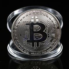 1Pc Silver Plated Bitcoin Coin Collectible BTC Coin Art Collection Gift Physical MAR18_15