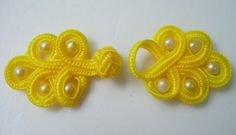 FG61 Yellow Pearl Loop Chinese Frogs Closure Buttons Knots 5pr - Click Image to Close
