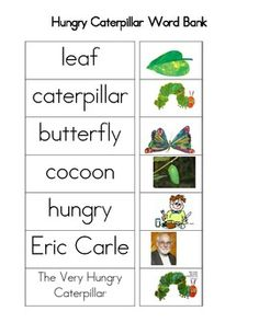 My students all have IEP goals for writing so I make word banks that go with the theme. This is the word bank I made for my Very Hungry Caterpillar theme. I model using the word bank for my students and they keep them in their writing folders to assist their