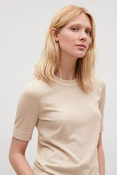 COS image 2 of Knitted silk-cotton T-shirt in Sand