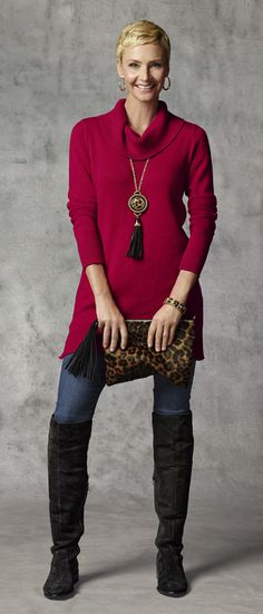 Chico's Kelsi Cowl Neck Sweater, Leopard Clutch and Roxee Boot (As seen in O, The Oprah Magazine).