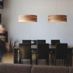 Funk large suspension en bois de noyer : Dreizehngrad : Made in Germany - Réf. Dining Room Lighting, Home Lighting, Lighting Ideas, Lighting Design, Deco Design, Wall Design, Pendant Lamp, Pendant Lighting, Contemporary Wall Lights