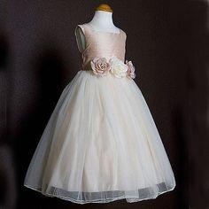 Dusty Rose Silk Bodice & Layered Tulle Girls Dress by Kids Dream